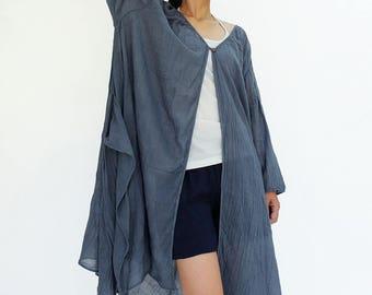 NO.212 Bluish Gray Cotton Gauze Three-Quarter Sleeves Cardigan, Button Front Top