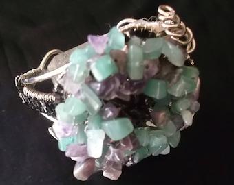 Beautiful Turquoise & Purple Clustered Stones Bracelet