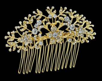 CHRISTINE - Gold Bridal Wedding Hair Comb