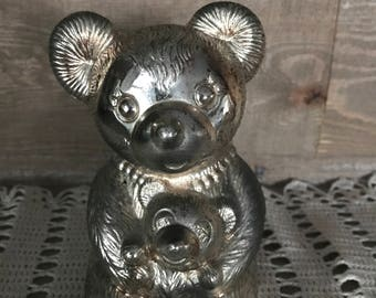 Metal Teddy Bear and Baby Bear Bank Vintage