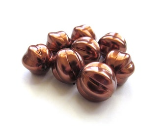 Large Metallic Pearlized Copper Round Czech Glass Melon Beads, 14mm - 8 pieces