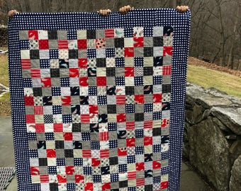 Baby Quilt Red and Blue Quilt