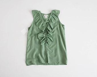 green silk blouse | ruffle blouse | 90s silk blouse
