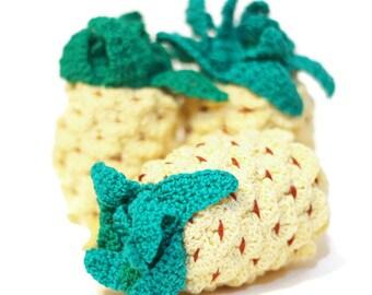 Crochet Pineapple Stuffed Kitchen Decor Amigurumi food Crochet fruits Pretend Play food Crochet food Tactile toy Learning toys Sensory toy