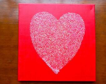 Bright Pink Glitter Heart Canvas