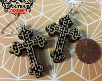 Filigree Gold and black cross earring dangles, relgious, christian, cross, lace metal looking laser cut wood and painted, religious jewelry