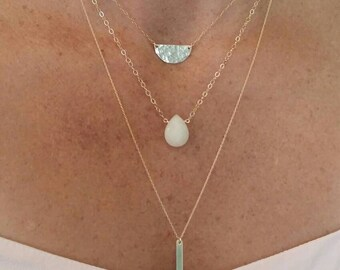 Gemstone Necklace, Honey Jade,  Layering Necklace, Simple Necklace, Gemstone Jewelry