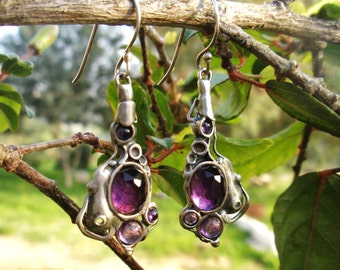 Handcrafted 925 Sterling Silver Earrings, Amethyst, Unique Design by Poran. Artistic Jewelry, Made In Israel
