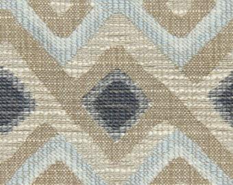 Light Aqua Blue Floral Linen Upholstery Fabric Blue Grey