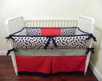 Baseball Crib Bedding Set Kenny - Boy Baby Bedding, Baseball Baby Bedding, Sports Nursery Bedding with Navy, Red, and Gray