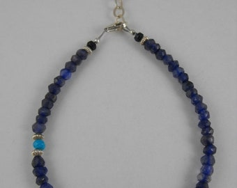 Mothers Day Sale Iolite, Sleeping Beauty Turquoise, Sapphire, Blue Quartz, and Sterling Silver Bracelet