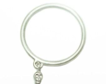 Mini Skull Charm Dangle Ring in Sterling Silver