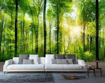 Rays of Light in the Forest Wall Mural, Nature Mural, Summer in the forest Wallpaper, Wall décor