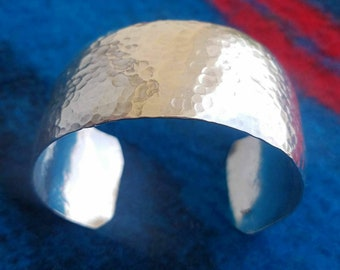 Wide Silver Cuff Bracelet, Hammered Silver Bracelet, 925 Silver Bangle, Silver Cuff Bangle, Sterling Silver Cuff, Statement Bracelet Silver