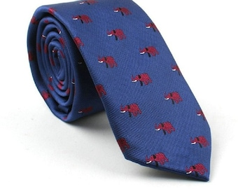 Blue Elephant Skinny Tie | wedding tie | skinny tie | blue tie | wedding ideas | ideas | groom | party tie