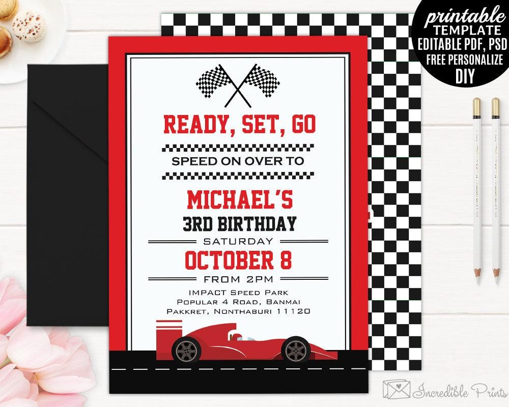 Race Car Boy Birthday Invitation Template. Boy Birthday Party