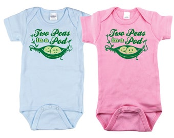 Peas in a Pod set for twins, twin baby clothes, baby twins gift idea, twins shower gift, gifts for twins, twins baby gifts, baby gift twins