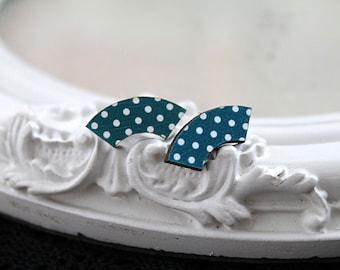 Polka dot sector shaped wooden earrings post stud kawaii sweet lolita teal blue