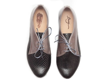 Black Leather Shoes, Black Oxford Shoes, Black and Grey Shoes, Flat Shoes, Close Shoes , Free Shipping