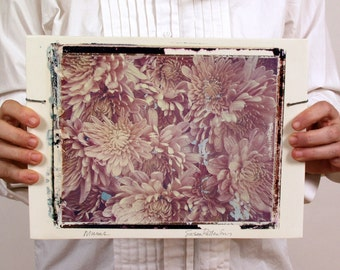 SALE. Mums. Large Format Polaroid Transfer Printed on Hand-Built Fired Clay Slab.   8X10 Polaroid Film.