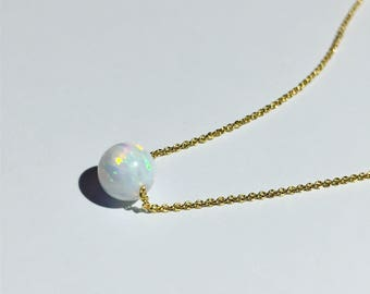 Fire opal pendant necklace on dainty gold, rose gold, or silver chain
