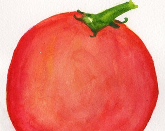 Tomato watercolor painting original, culinary watercolor, kitchen, dining, food art, watercolor art,   4 x 6 home decor, wall art