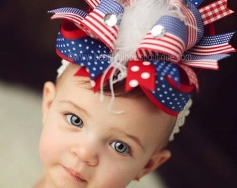 Over the Top Patriotic 4th of July Boutique Hair Bow 6 inches,Big Baby Bows,Over the Top Bows,Flag Hair Bows,Baby Bows and Headbands,Girls