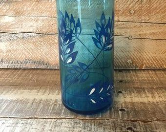 Drinking Glasses, Retro 80's Beverage Glasses, Bright Blue Drinking Glasses, Leaves,