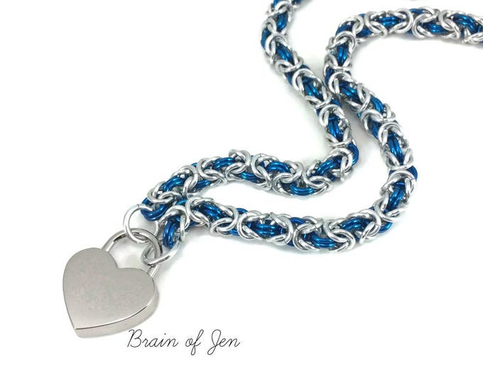 Submissive Day Collar Silver and Cobalt Blue Chainmail with Heart Lock