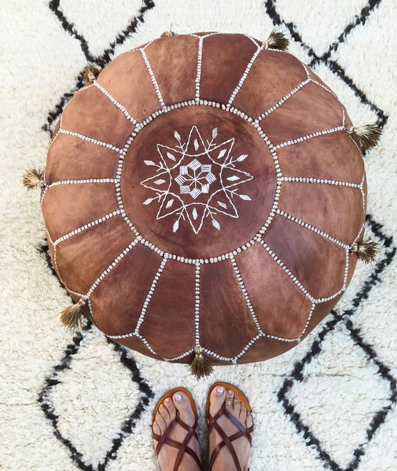 30% OFF Pouf Sale//Tan Brown Moroccan Leather Pouf with Tassels & Pompoms >> for Home gifts, wedding gifts, anniversary gifts, Cushion