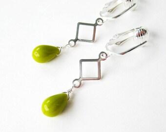 Bright Green Clip-on Earrings, Silver Dangle Ear Clips, Chartreuse Green Glass Teardrop Lightweight Earrings for Non Pierced Ears, New Leaf
