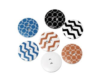 Chevrons wood sewing buttons - 6 Mixed Patterns craft buttons