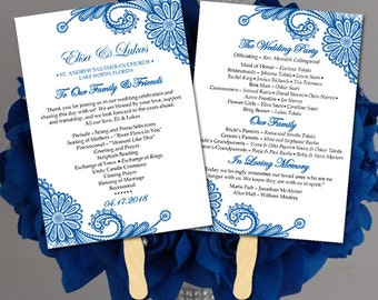 "Lace Wedding Program Fan Template - Horizon Wedding Program Printable - Order of Service ""Luna Lace"" Order of Ceremony Instant Download"