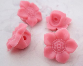 20 pcs. pink coral plastic flower shank buttons 17mm - f5331