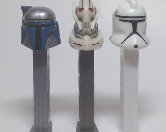 Star Wars 3 Pez collection - LOT of 3 - Jango Fett, General Grievous and Clone Trooper