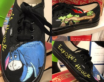 Custom painted Vans! Inspired by Disney's  Winnie the Pooh featuring Eeyore