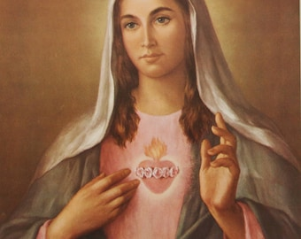 Large Immaculate Heart of Mary Print 12x 16 tall Catholic Picture Poster by La Fuente - Printed in Spain