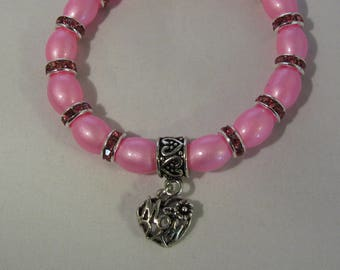 Pink Glass Beads Stretchy Bracelet with Mom Charm