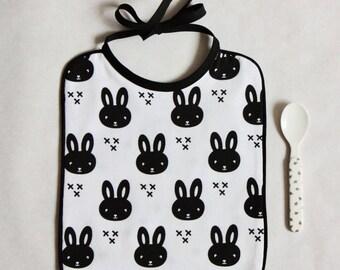 Bib tie rabbit printed Jersey / / black and white / / birthday gift / / baby boy