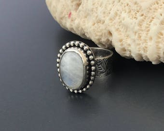 Rainbow Moonstone Ring with Leaf Pattern Hand Stamped Wide Band in Sterling Silver, Artisan Silversmith White Ring Blue Flash Size 6 1/2