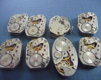 Set of 8 antique watch movement Steampunk crafting  Lot 105