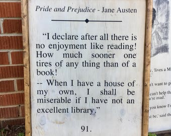 Pride and Prejudice Art Jane Austen Quote - Book Page Wall Art Sign - Framed Wood Wall Art