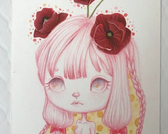 Poppies Girl Original Illustration - 5x7 inches