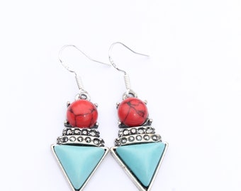 Red & Turquoise Triangle Earrings