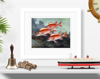 HASHIME MURAYAMA FISH Art - Tropical Fish Art, Mid-Century Art, Animal Art, Marine Life Print, Nautical Decor, Beach House Decor