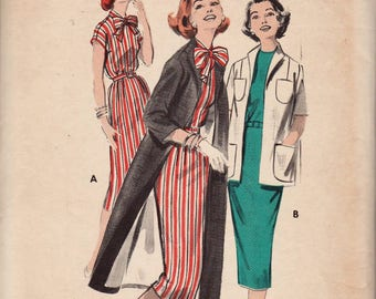 Butterick 8449 / Vintage 50s Sewing Pattern / Dress Coat And Jacket / Size 12 Bust 32