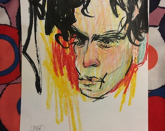 Colorful portrait, pen, ink, and crayon on marker paper