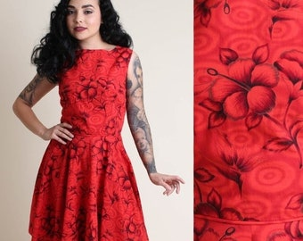 SALE SALE SALE vintage 50s Red + Floral pinup Hawaiian dress L / hourglass rockabilly garden party sun dress 1950s