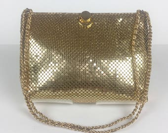 Vintage 1980s Bueno Gold Metal Mesh Handbag