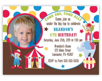 Stripes or Dots Circus Carnival Birthday Boy Party Invitation (Digital File)